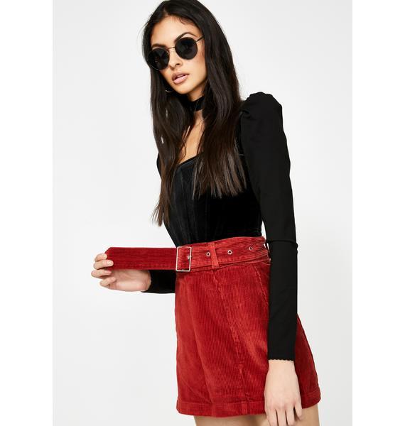 Momokrom Corduroy Belted Denim Skirt