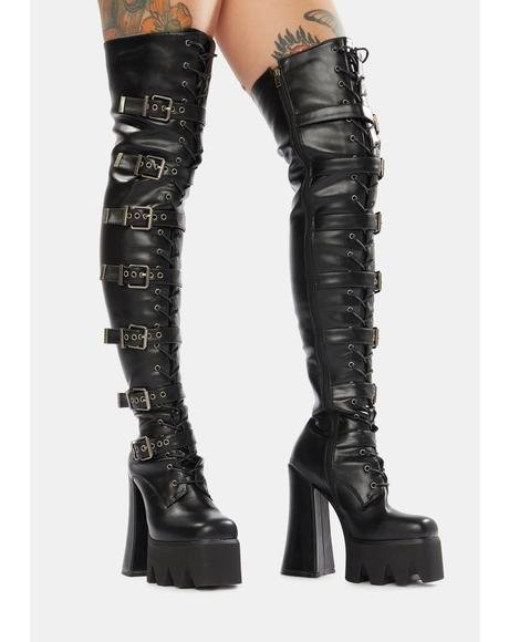 Above And Beyond Thigh High Platform Boots