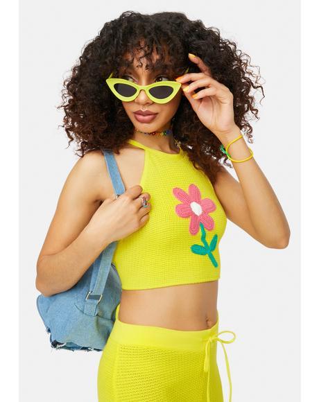 Summer Bummer Babe Daisy Crochet Halter Top