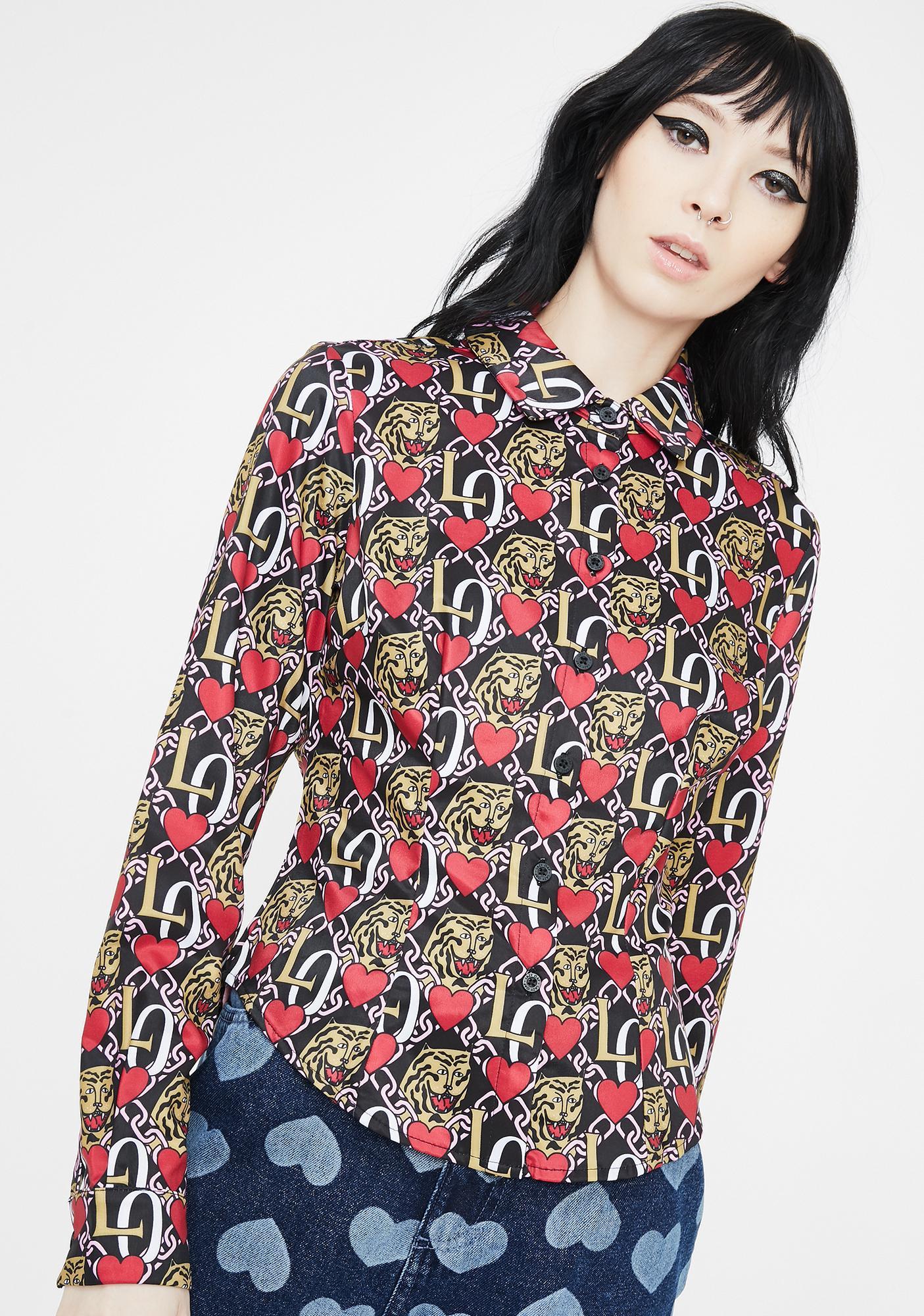 Lazy Oaf Oaf Tiger Crest Button Up Shirt