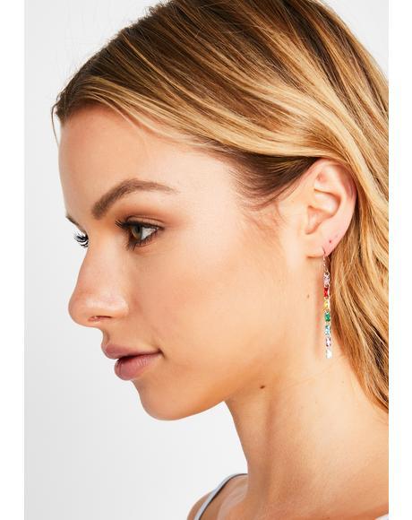 Rainbow Bae Rhinestone Drop Earrings
