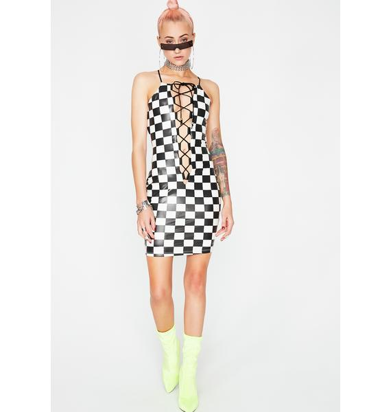 Think Fast Checkered Dress