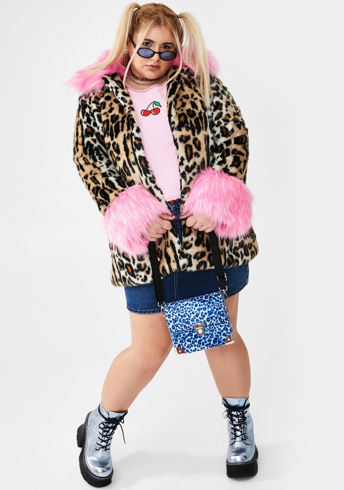 dELiA*s by Dolls Kill Major Sass Attack Faux Fur Coat