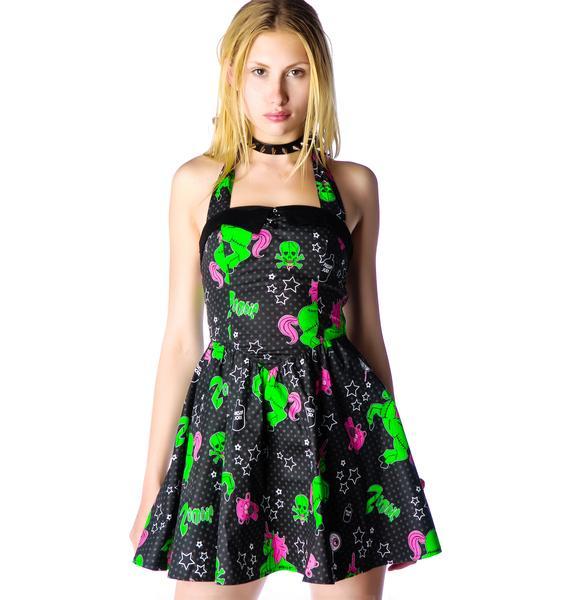 Hell Bunny I Heart Unizombies Mini Halter Dress