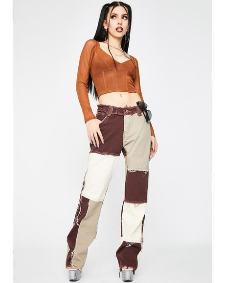 Brown Patchwork Denim Jeans