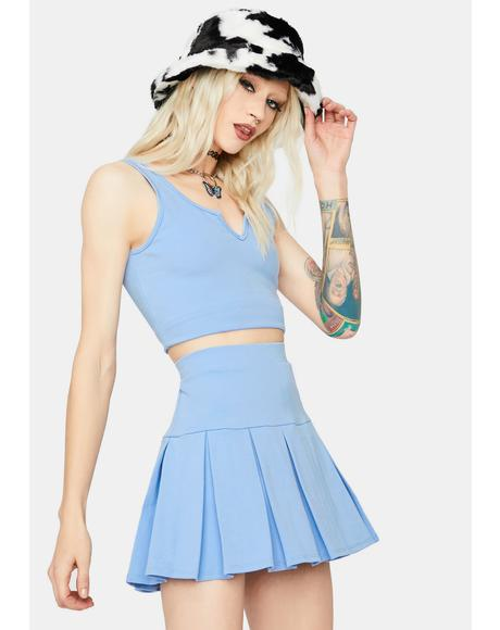 Cheerful Player Tank Pleated Skirt Set