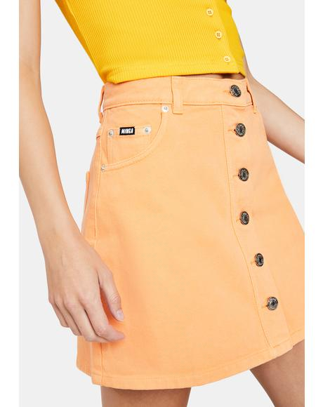 Tangerine Denim Mini Skirt