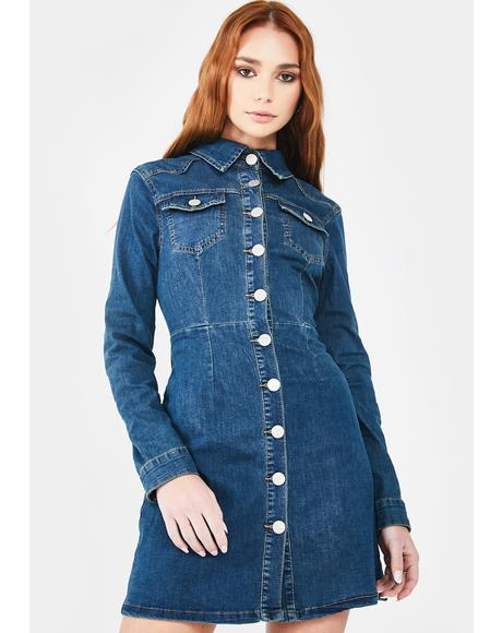 Mid Stone Button Up Denim Dress
