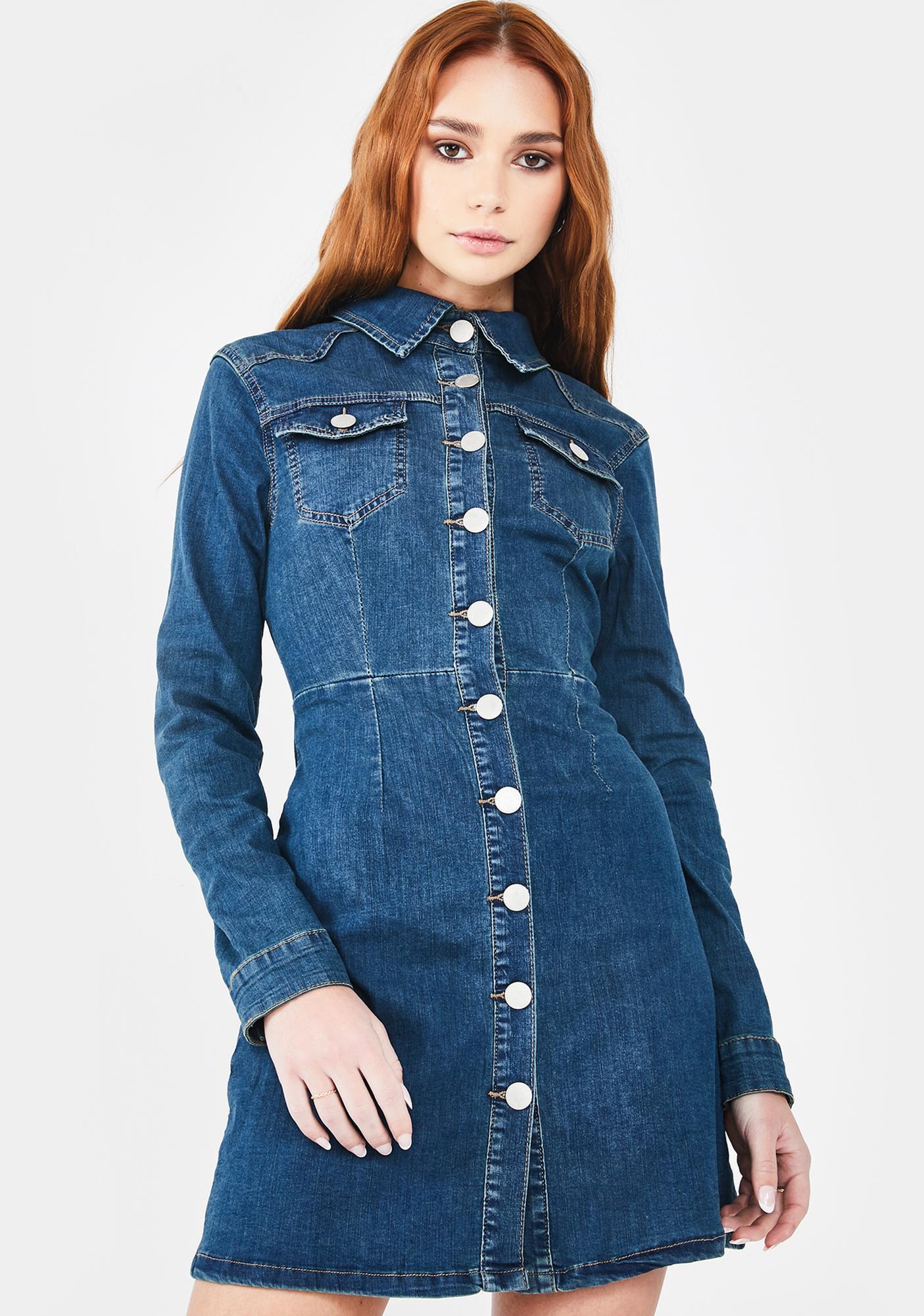 Glamorous Mid Stone Button Up Denim Dress