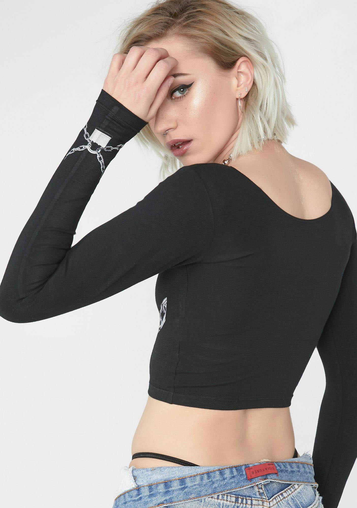 NYCXPARYS Broken Long Sleeve Crop Tee