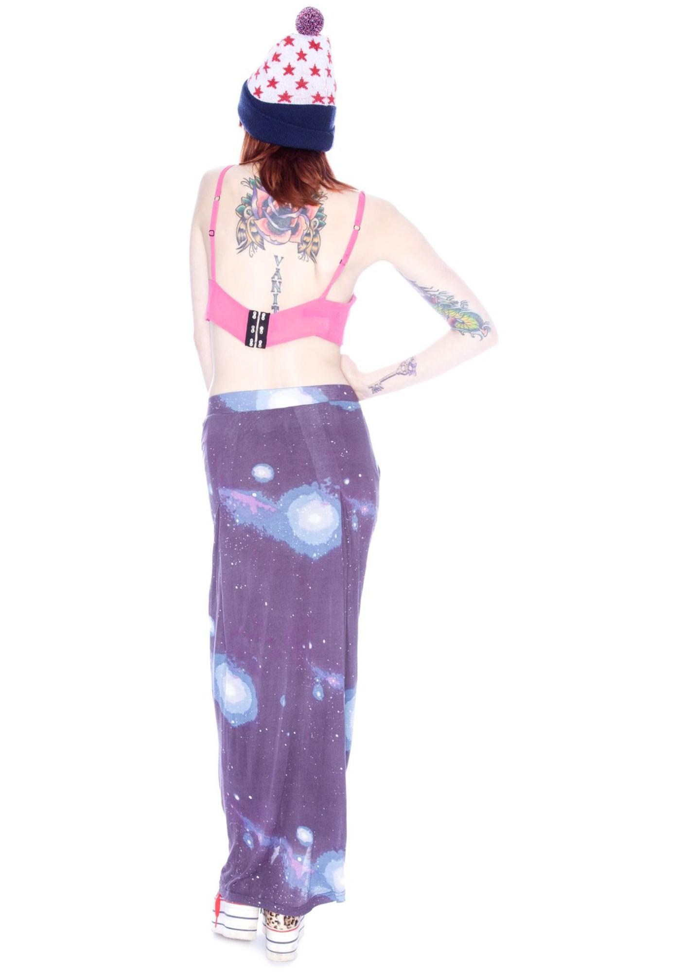 Sauce Cosmic Print Zipper Skirt