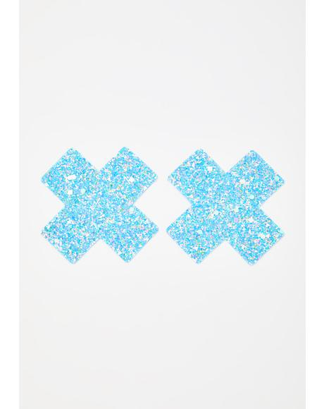Party Blue Super Sparkle Cross Pasties