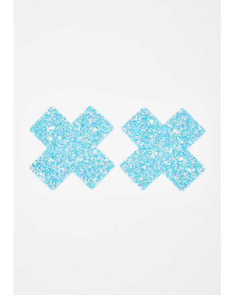 Party Blue Super Sparkle Cross Pasties