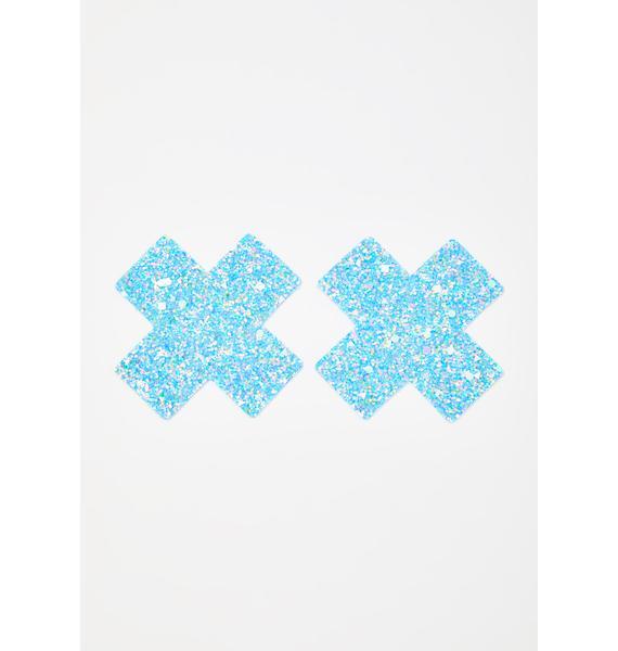 Neva Nude Party Blue Super Sparkle Cross Pasties