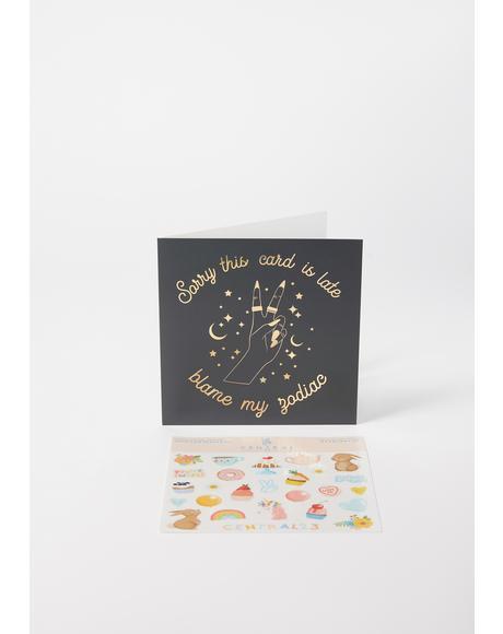 Blame My Zodiac Greeting Card