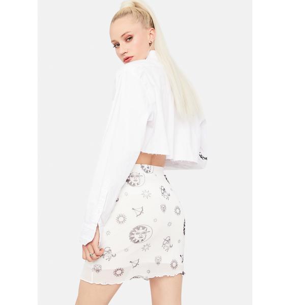 Daisy Street Sun and Stars Mesh Mini Skirt