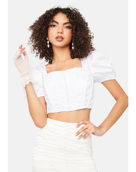White Puff Sleeve Corset Top
