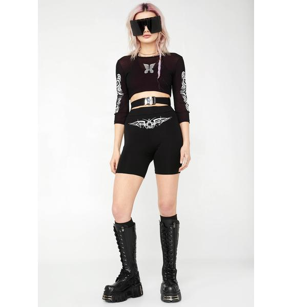 O Mighty Tribal Embroidered Biker Shorts