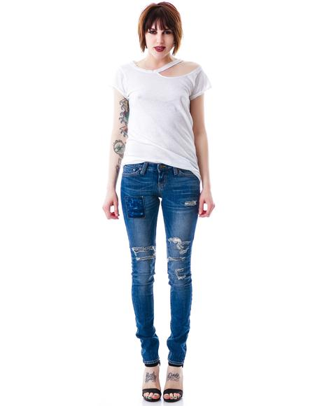 Thrashed Patch Skinny Jean