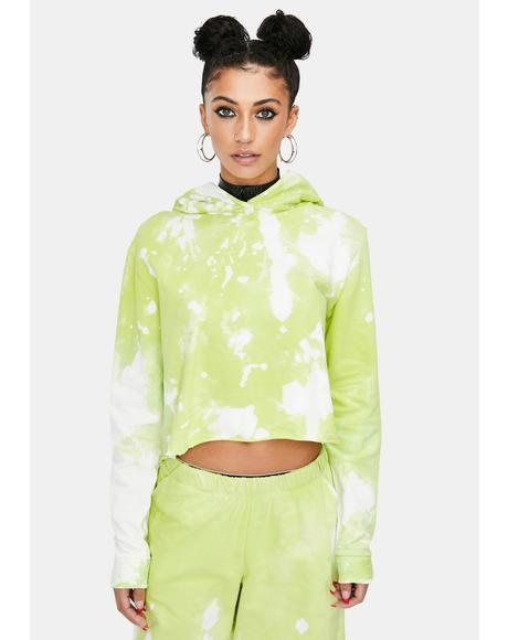 Green Apple Tie Dye Crop Hoodie