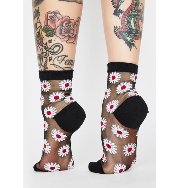 MeMoi Daisy Sheer Ankle Socks