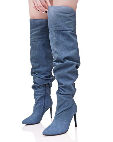 Denim Meet My Demandz Slouchy Boots