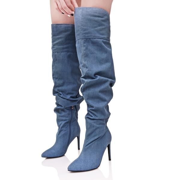 Denim Meet My Demandz Slouchy Boots