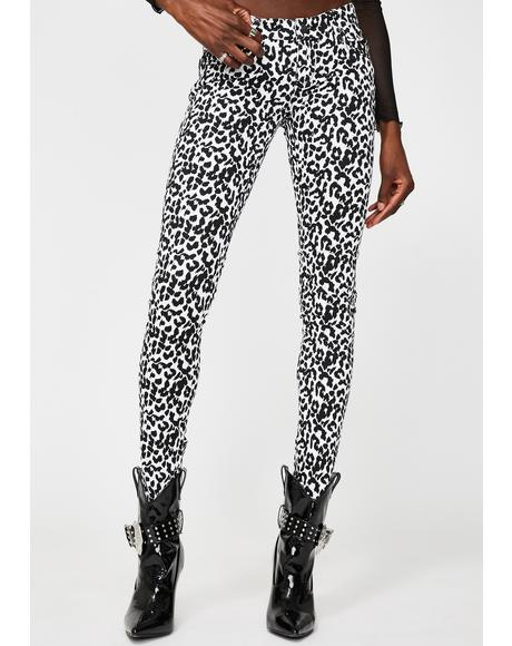 White Leopard T-Back Skinny Jeans