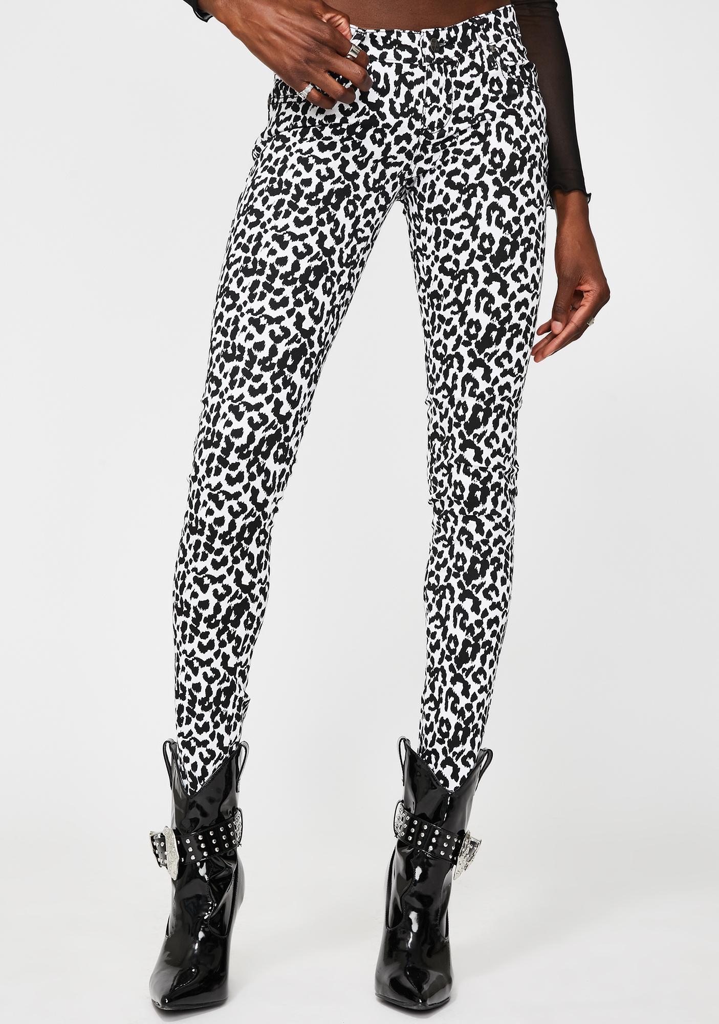 Tripp NYC White Leopard T-Back Skinny Jeans