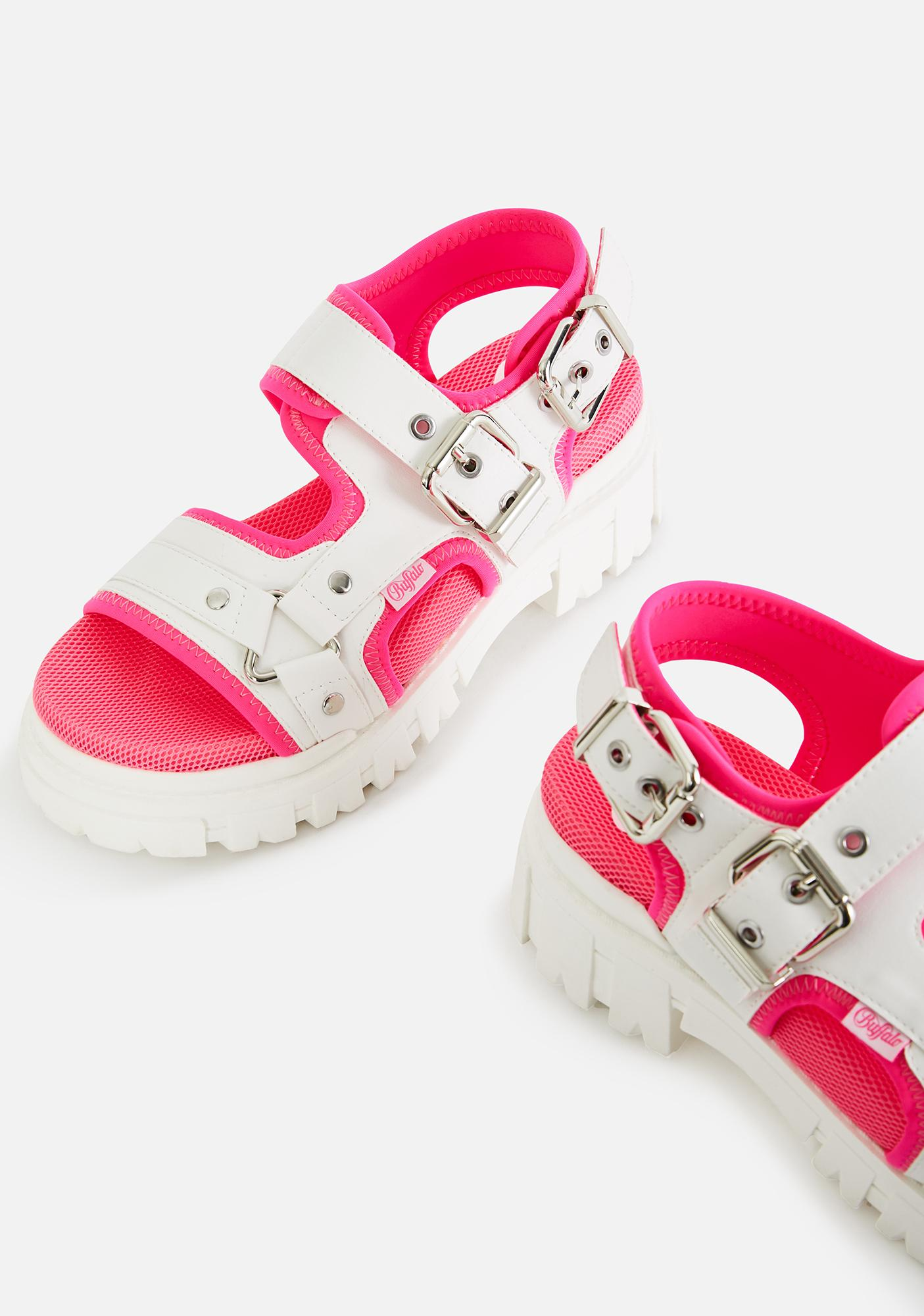 Buffalo White & Neon Pink Jorja Sandals