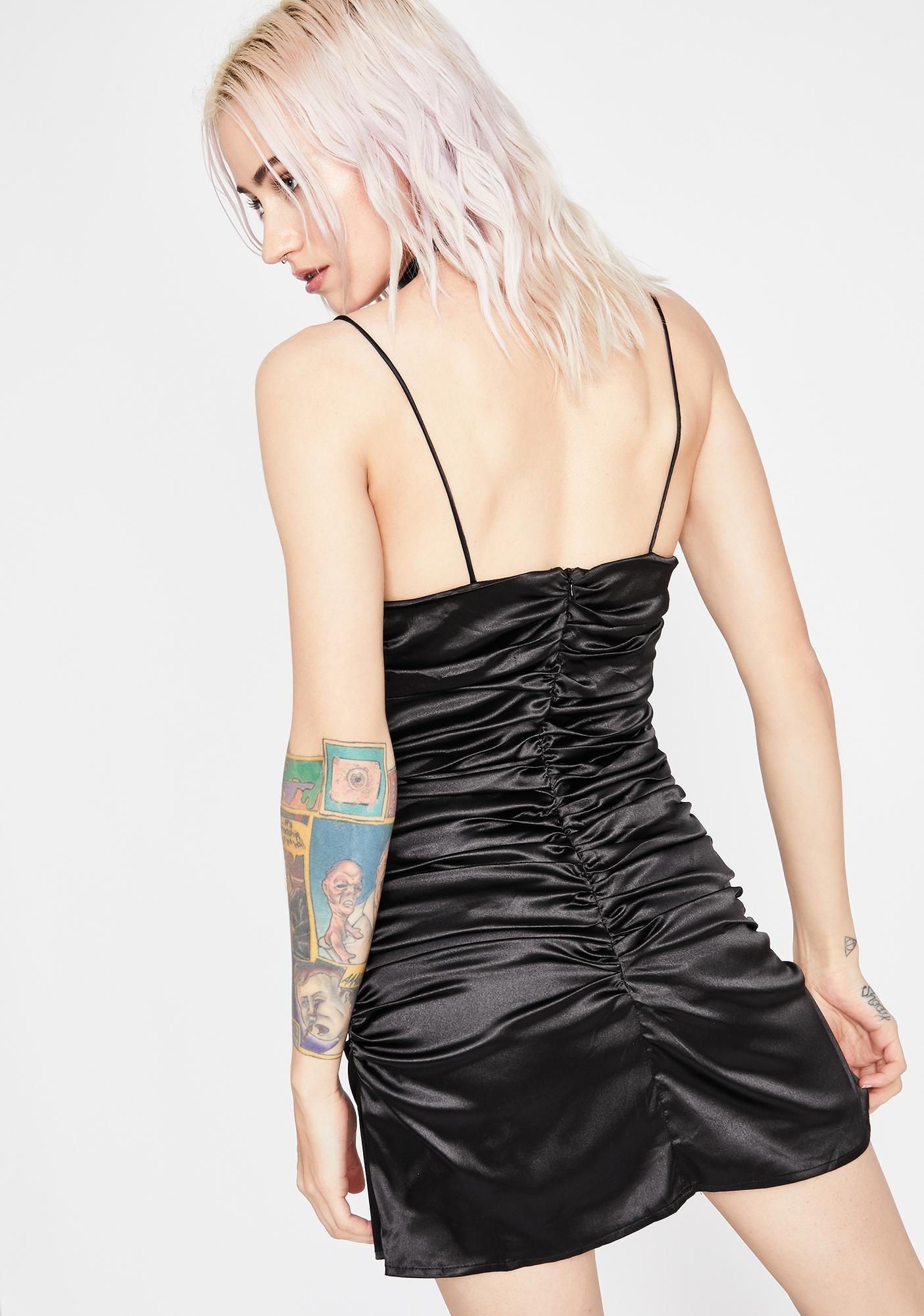 Midnight Lover's Embrace Satin Dress