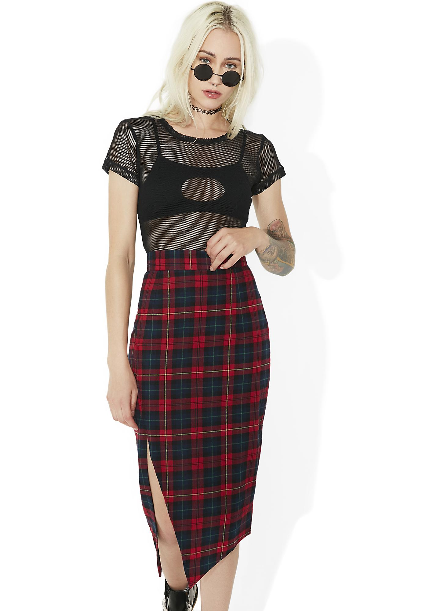 Nana Judy Jett Red Plaid Skirt
