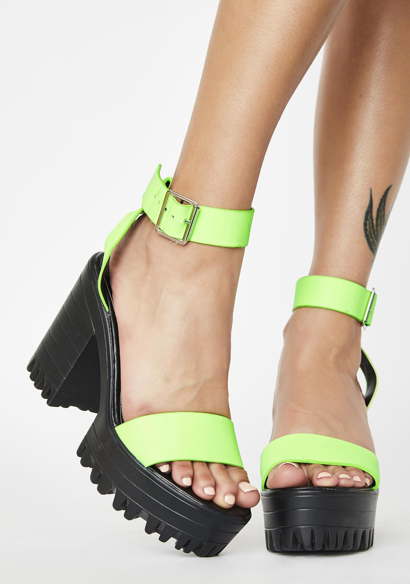 Public Desire Neon Green Avenue Platform Heels