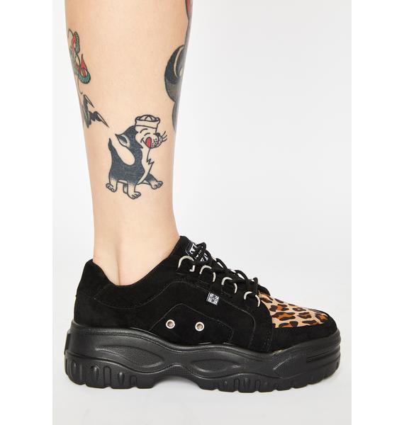T.U.K. Leopard Suede Wave Creeper Sneakers