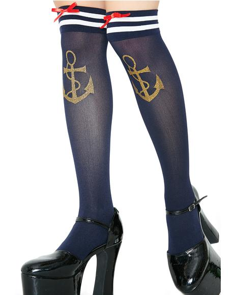 Ahoy Matey Thigh High Socks