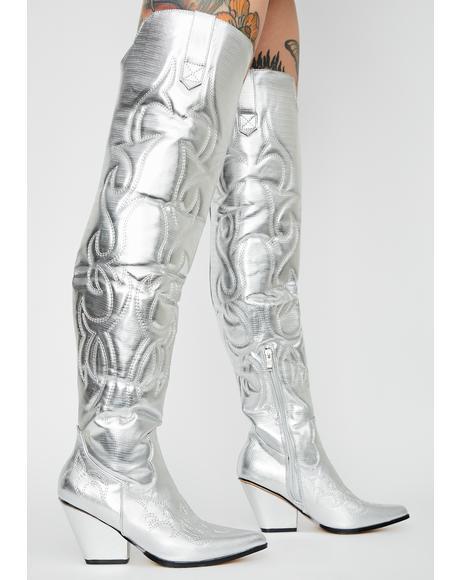 Chrome Disco Cowboy Metallic Boots