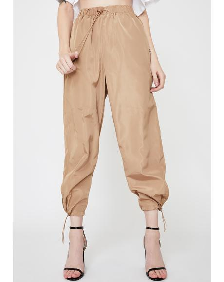 Cropped Cut-Out Track Pants