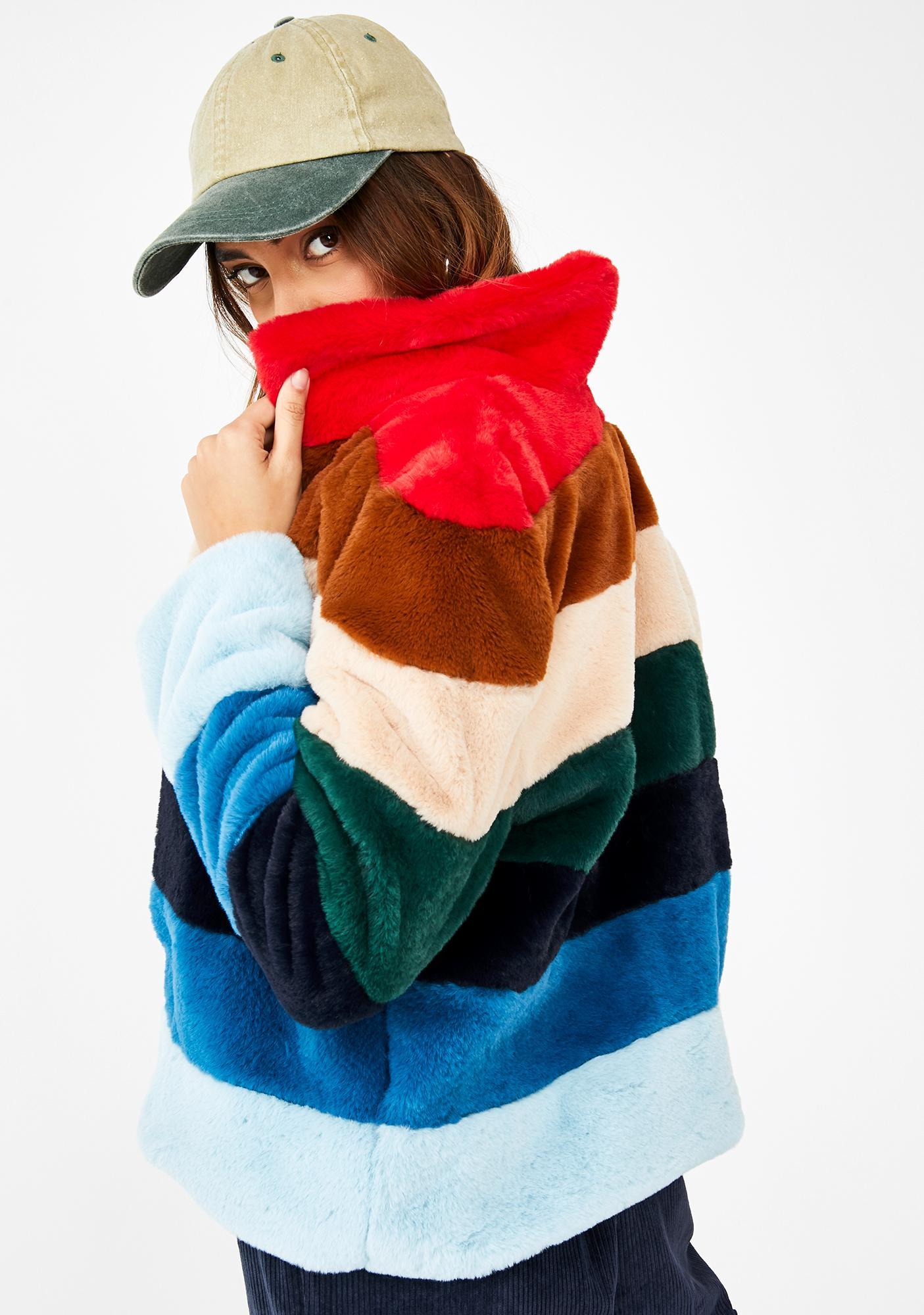 Blank NYC Rainbow Pop Faux Fur Jacket