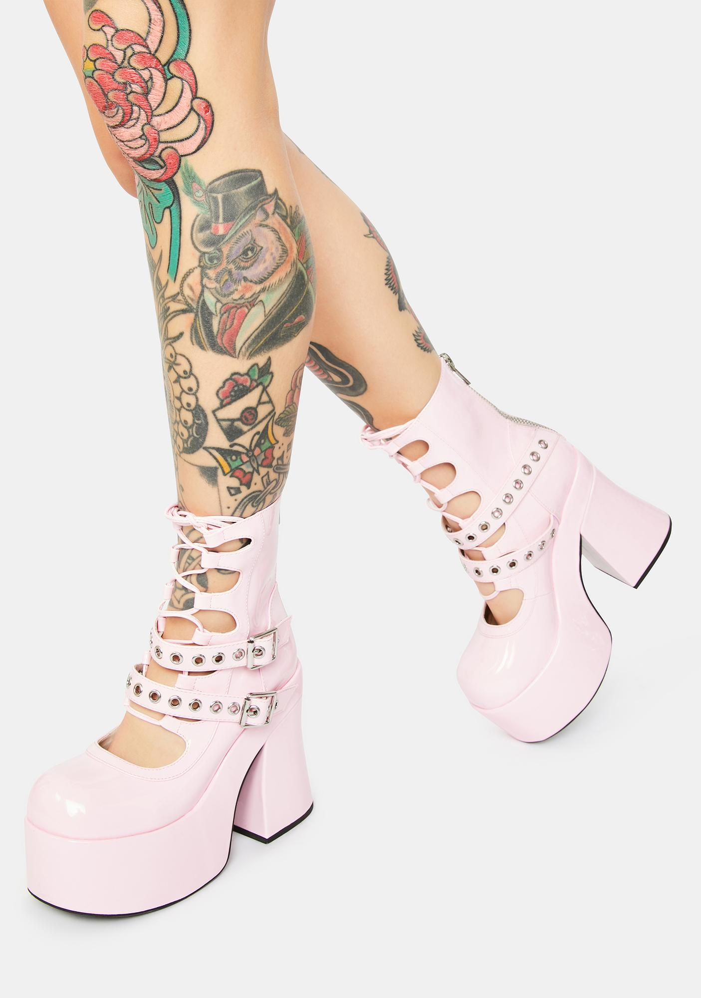 Sugar Thrillz Rose Stay With Me Strapped Buckle Booties