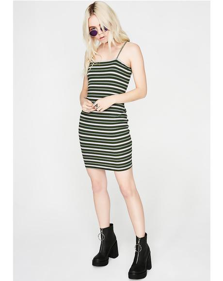 Stripe Down Mini Dress