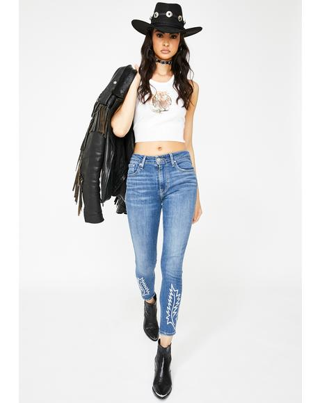 Get The Boot 721 High Rise Embroidered Ankle Skinny Jeans
