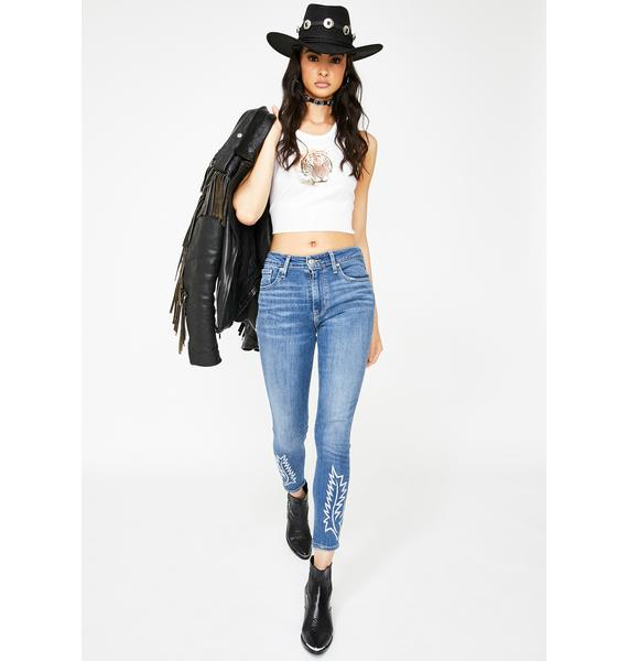 Levis Get The Boot 721 High Rise Embroidered Ankle Skinny Jeans