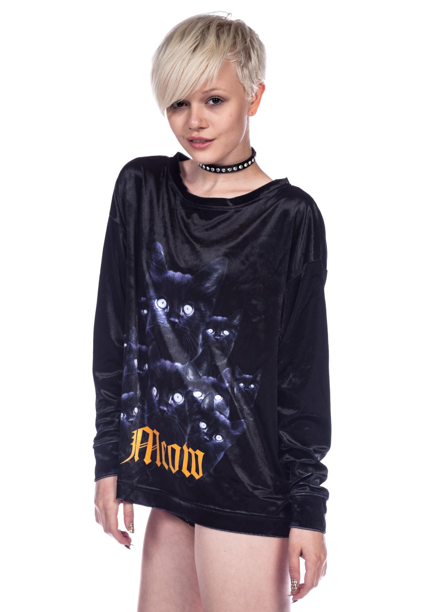 Wildfox Couture Black Cat Meow Long Sleeve Crew Sweater