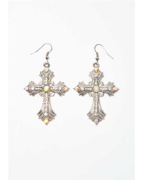 Holy Hell Cross Earrings