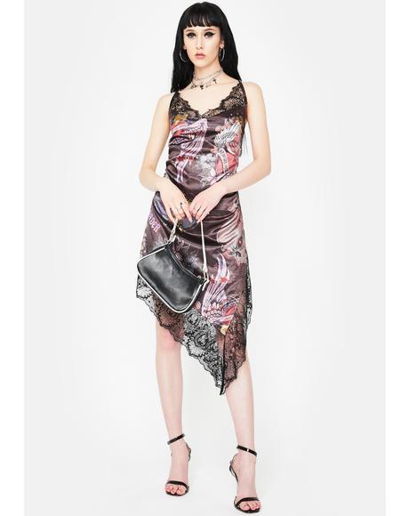 Lace Floral Asymmetrical Midi Dress