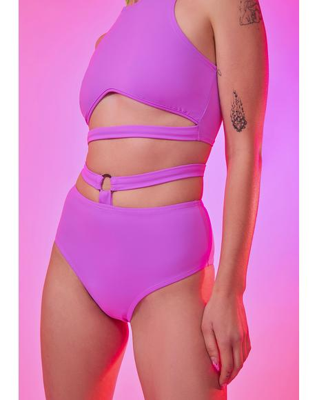 Neon Lavender O-Ring Booty Shorts