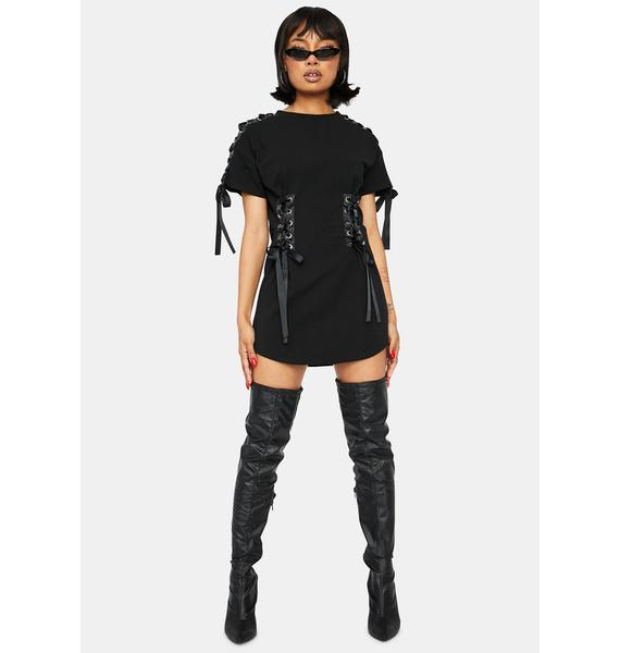 Night Crazy In Luv Lace Up Shirt Dress