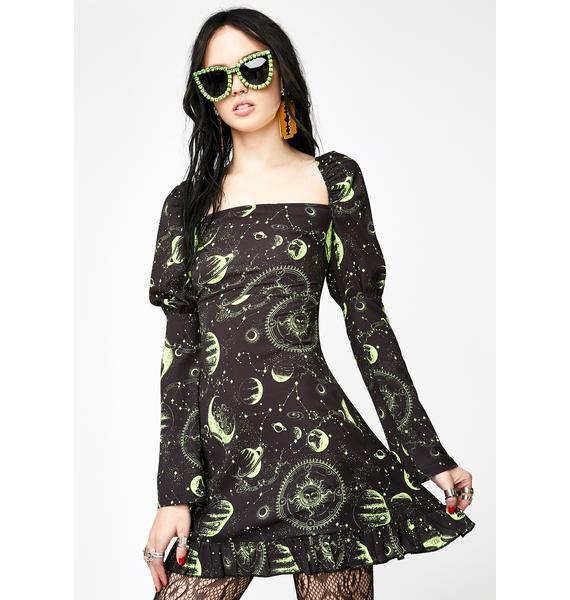 NEW GIRL ORDER Moon Print Square Neck Dress