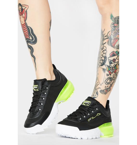Fila Neon Yellow Disruptor 2A Sneakers