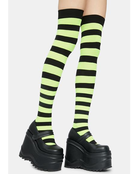 Electric Make U Pay Striped Thigh Highs